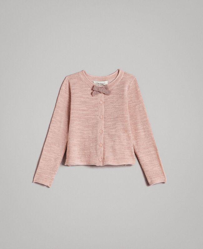 Geknüpfter Lurexgemisch-Cardigan Blütenrosa Kind 191GB3060-01