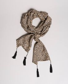Animal print scarf with tassels Mixed Animal Print Woman 191TP2725-01