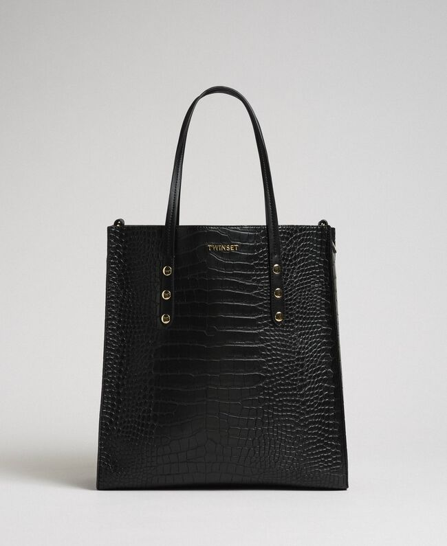 c87063ff4b Crocodile print faux leather shopping bag Woman, Black | TWINSET Milano