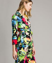 Marocain-Jacke mit Blumenmuster Motiv Schwarzer Garten Frau 191TT2470-02