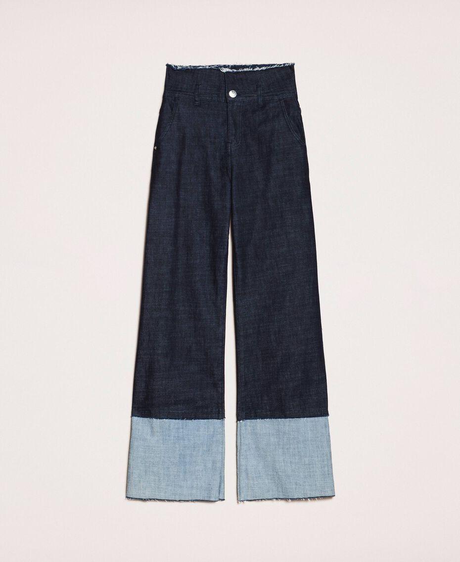 Свободные прямые джинсы с высоким отворотом Синий Деним женщина 201MP2340-0S