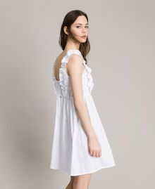 Poplin dress with ruches and brooch White Woman 191MT2050-01