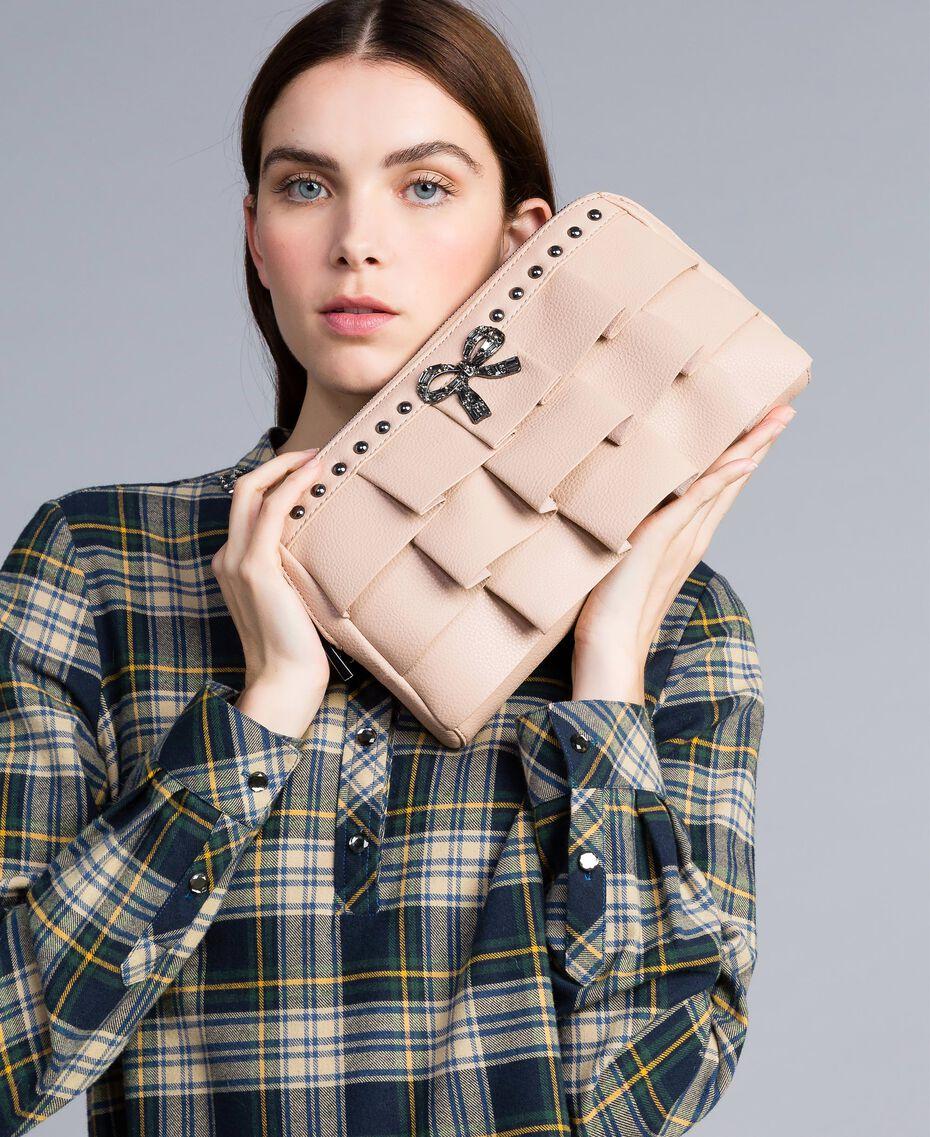 "Faux leather clutch bag with ruches ""Nude"" Beige Woman VA8PAR-0S"