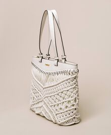 Borsa shopper in crochet Bianco Antique White Donna 201TO8130-02