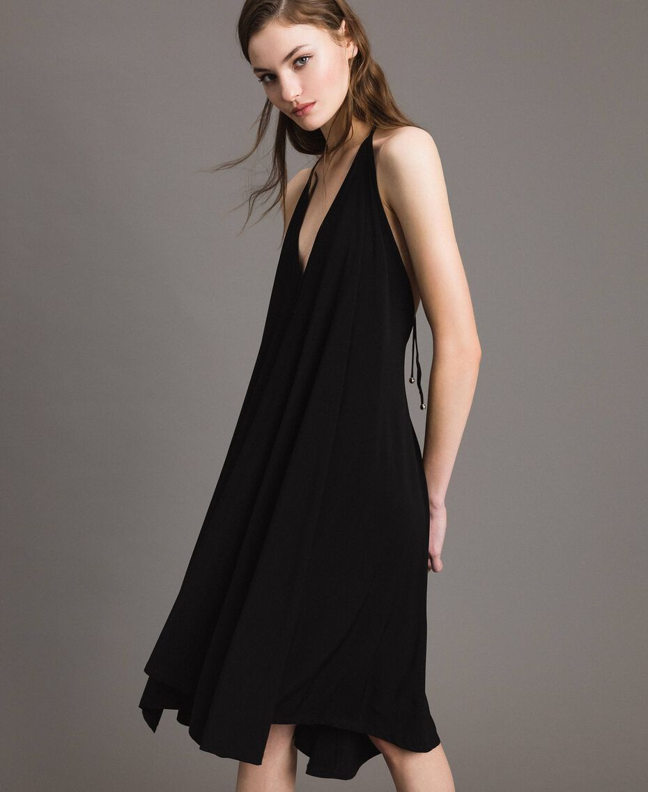 Robe asymétrique en jersey crêpé Noir Femme 191LB22QQ-02
