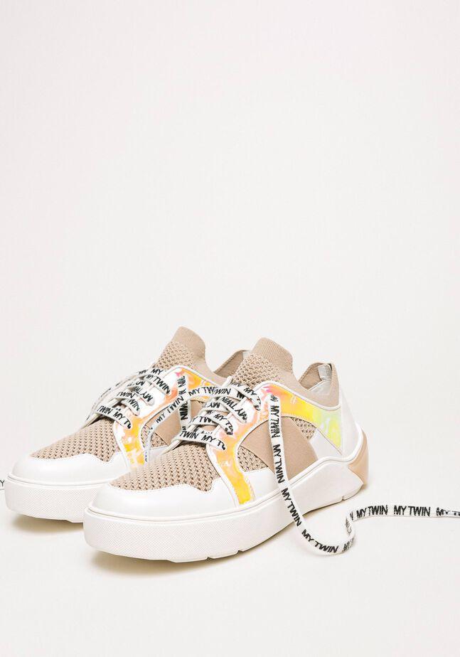 Sneakers in rete con dettaglio in similpelle