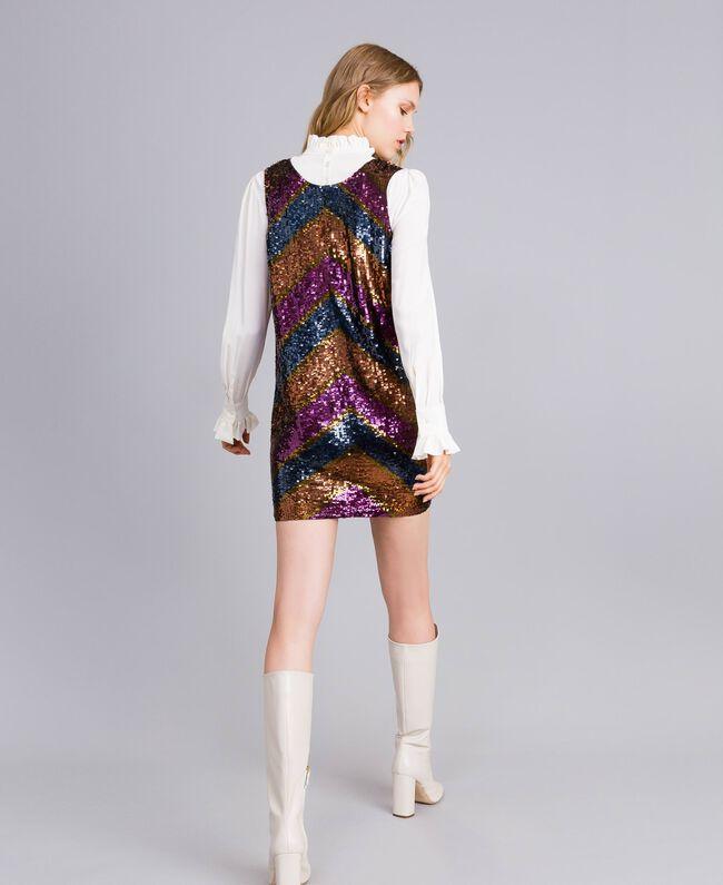 Kleid mit Alloverpailletten Paillettenstreifen mehrfarbig Frau TA82DE-03