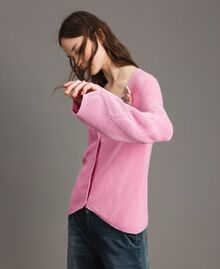 Cotton cardigan with brooch Hydrangea Pink Woman 191MP3092-01