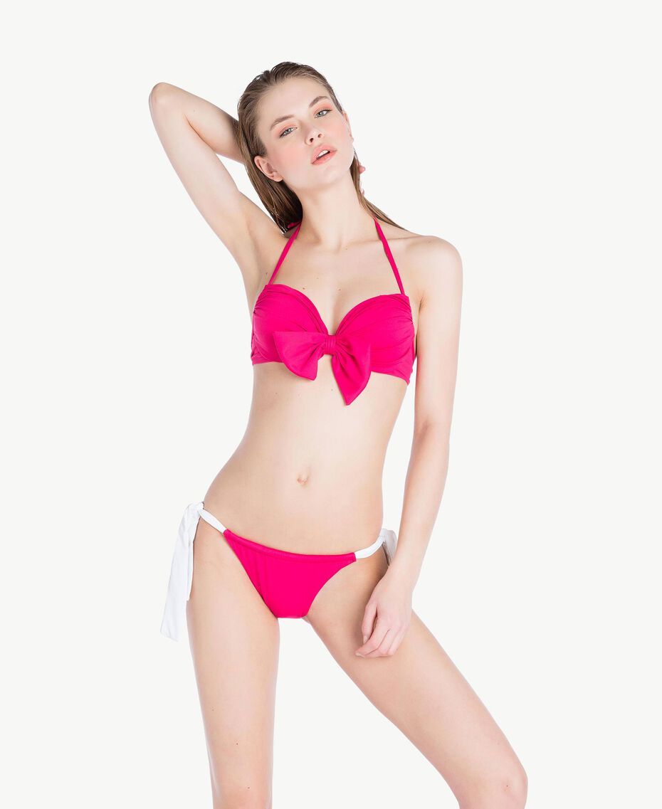 "Two-tone push-up bra Two-tone ""Voluptuous"" Pink / Optical White Woman MS8F44-03"