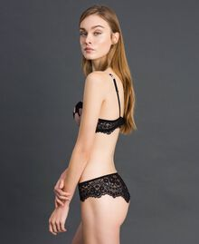Floral print Brazilian briefs with lace Black Floral Print Woman 192LL6K77-02