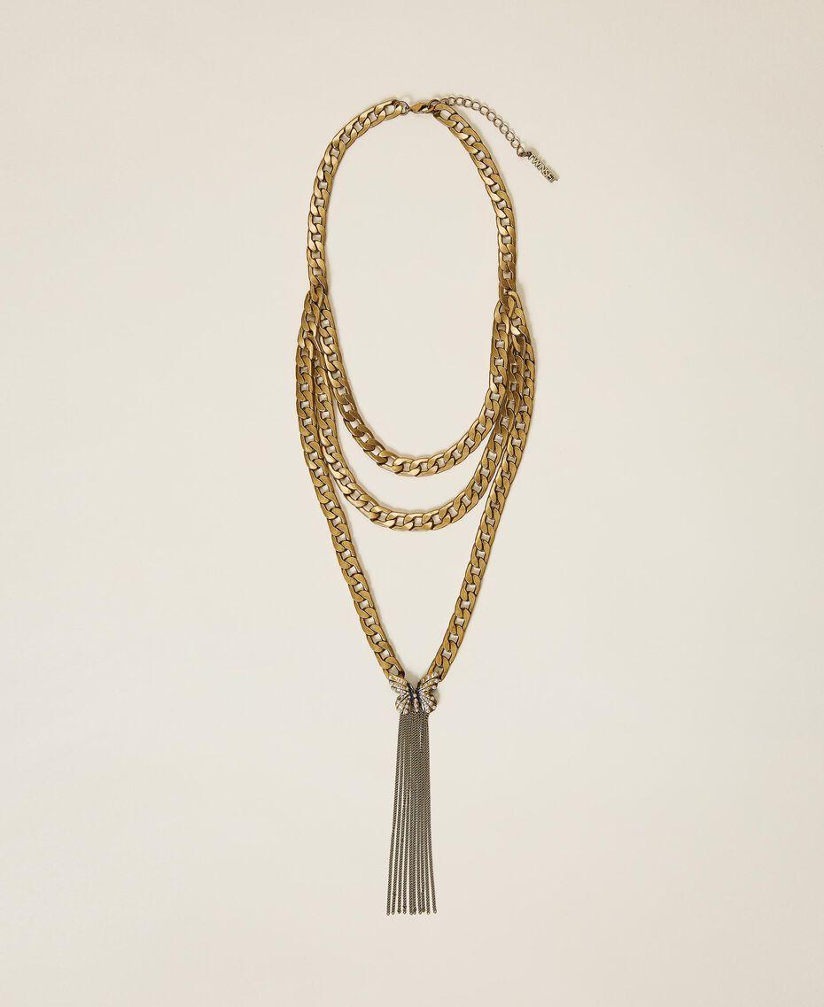 Collier en chaîne avec papillon et perles Or «Laiton Vieilli Cuivré» Femme 202TA4305-02