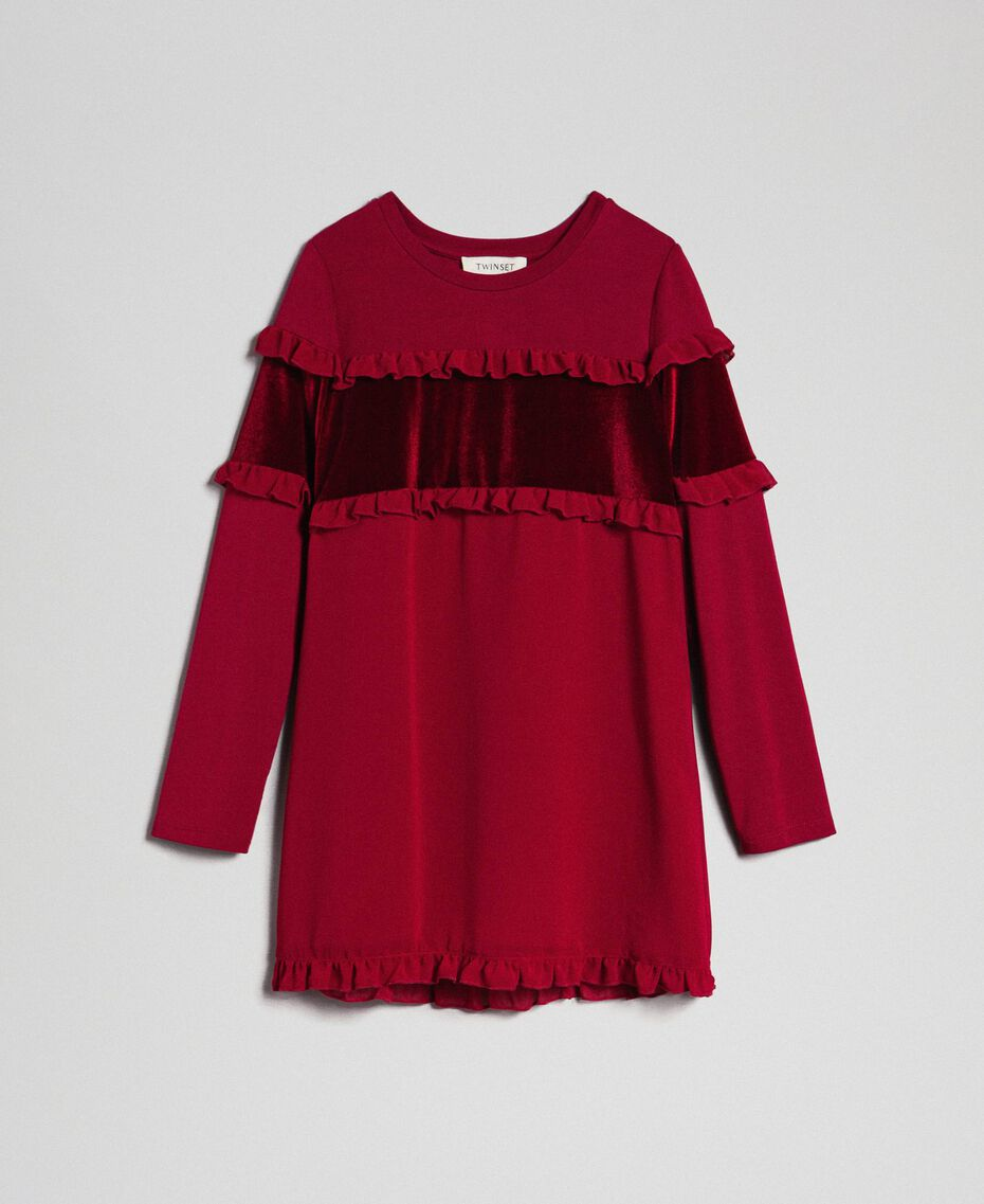 Dress with velvet inlay and frill Ruby Wine Red Child 192GJ2463-0S