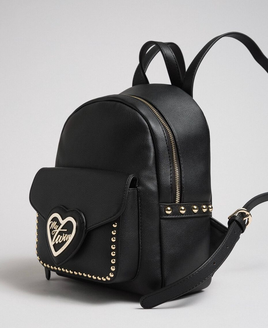 Two-tone faux leather backpack with studs Black Woman 192MA7104-01