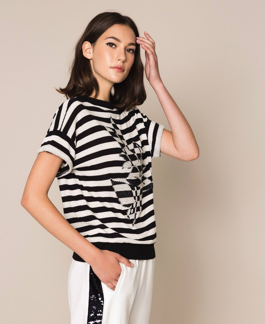 "Two-tone striped jumper with flower Black / ""Snow"" White Stripes Woman 201TP3221-02"