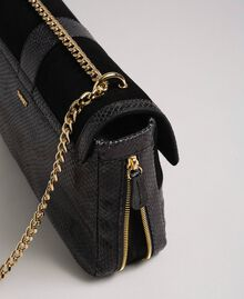 "Large Rebel shoulder bag in suede and leather ""Anthracite"" Grey Python Print Woman 192TO8241-03"