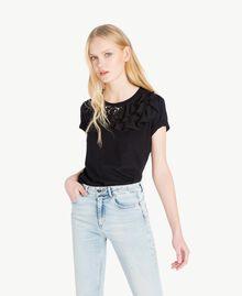 T-shirt ruches Noir Femme JS82RS-01