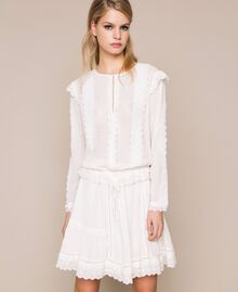 Блуза из кружева сангалло Белый Снег женщина 201TP2492-01