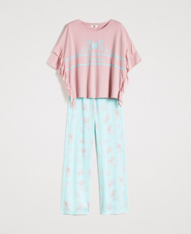 Ruffled long pajamas Mousse Blue Leaf Print Woman 191LL2FBB-01