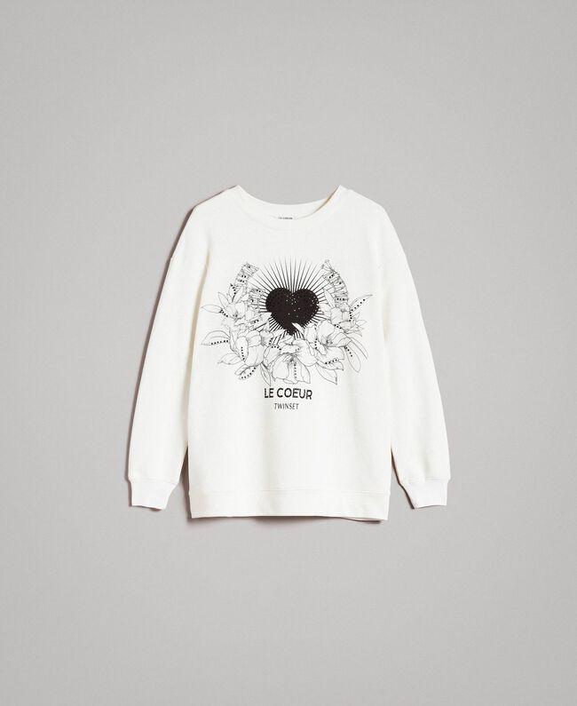 Avec Oversize Femme Twinset Strass Imprimé Shirt Blanc Sweat Et TPEHqwBxHz