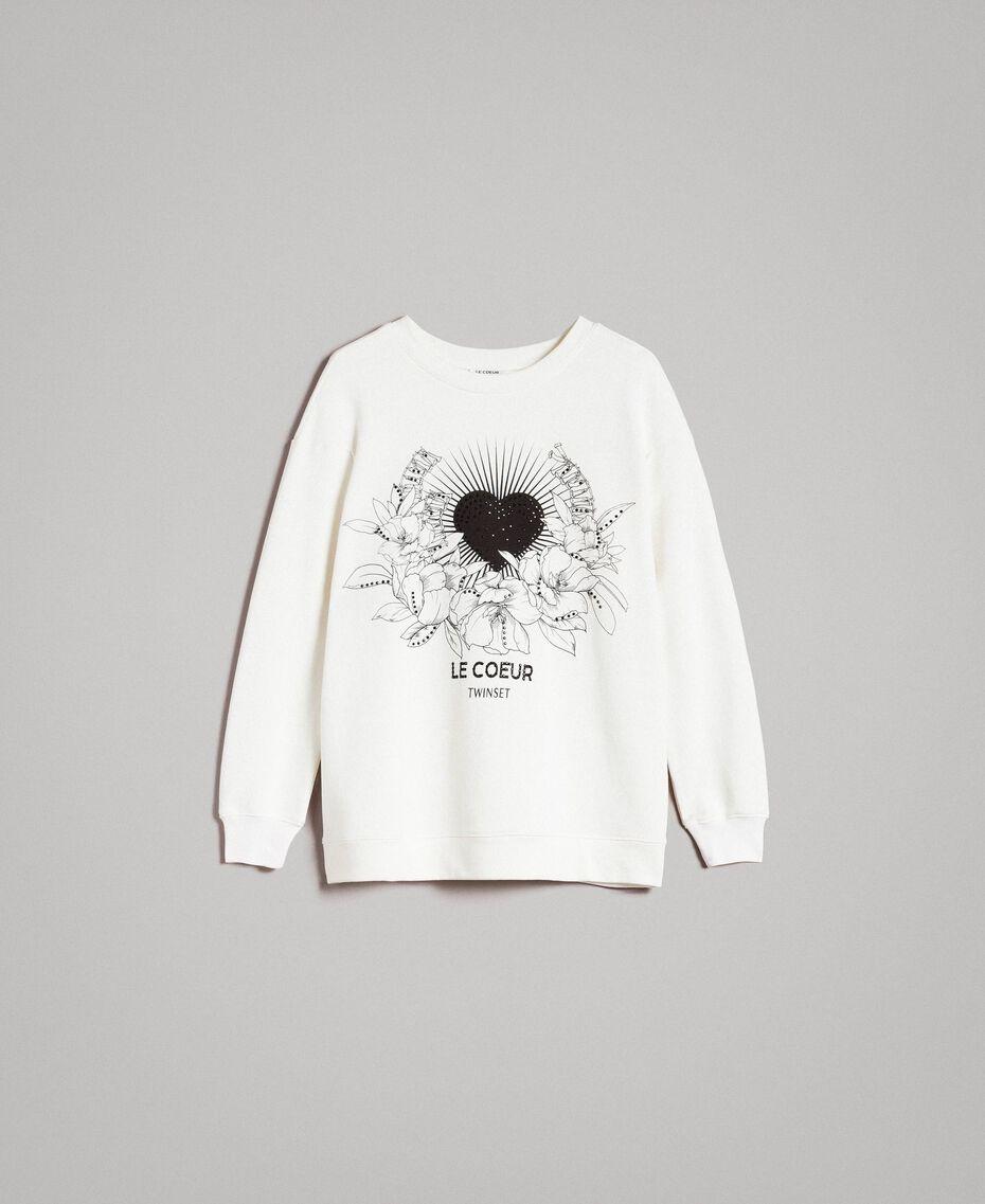 Maxi-Sweatshirt mit Aufdruck und Strasssteinen Mattweiß Frau 191ST2186-0S