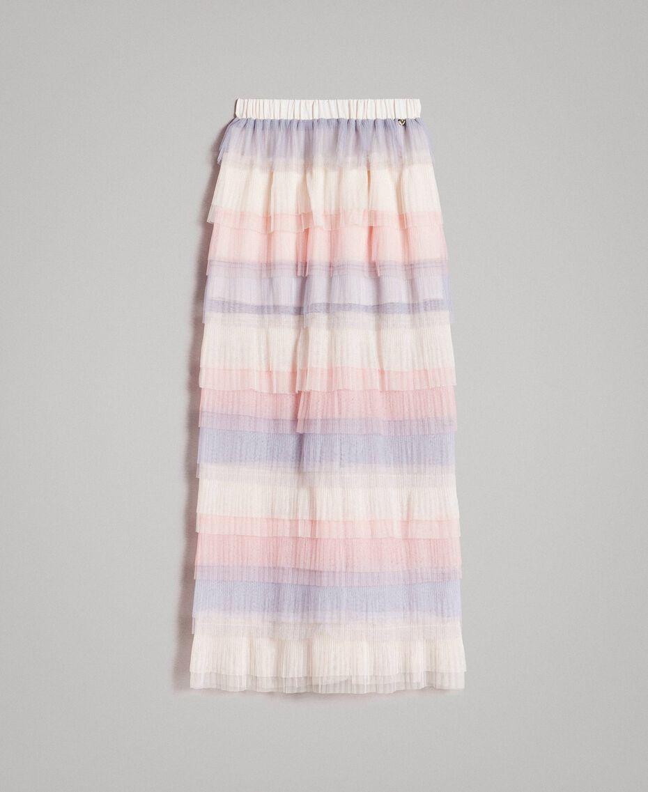 Long jupe plissée à volants Multicolore Tulle Femme 191MP2232-0S
