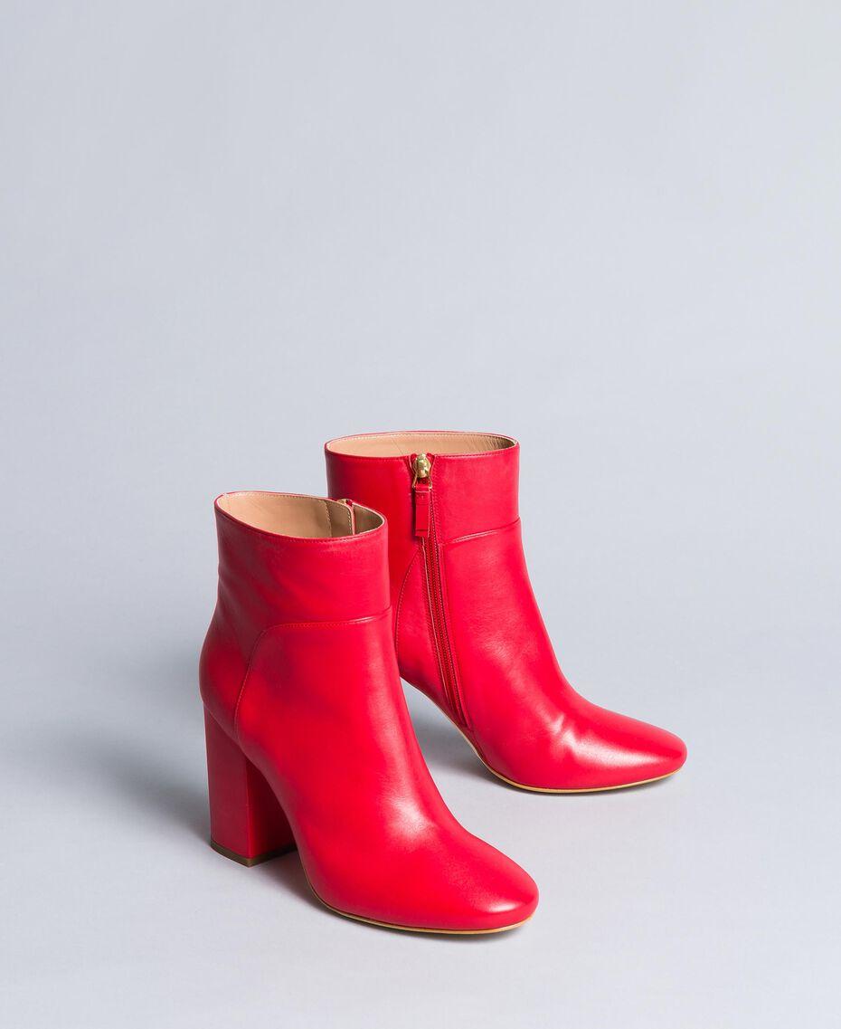Bottines en cuir Rouge Coquelicot Femme CA8PL1-02