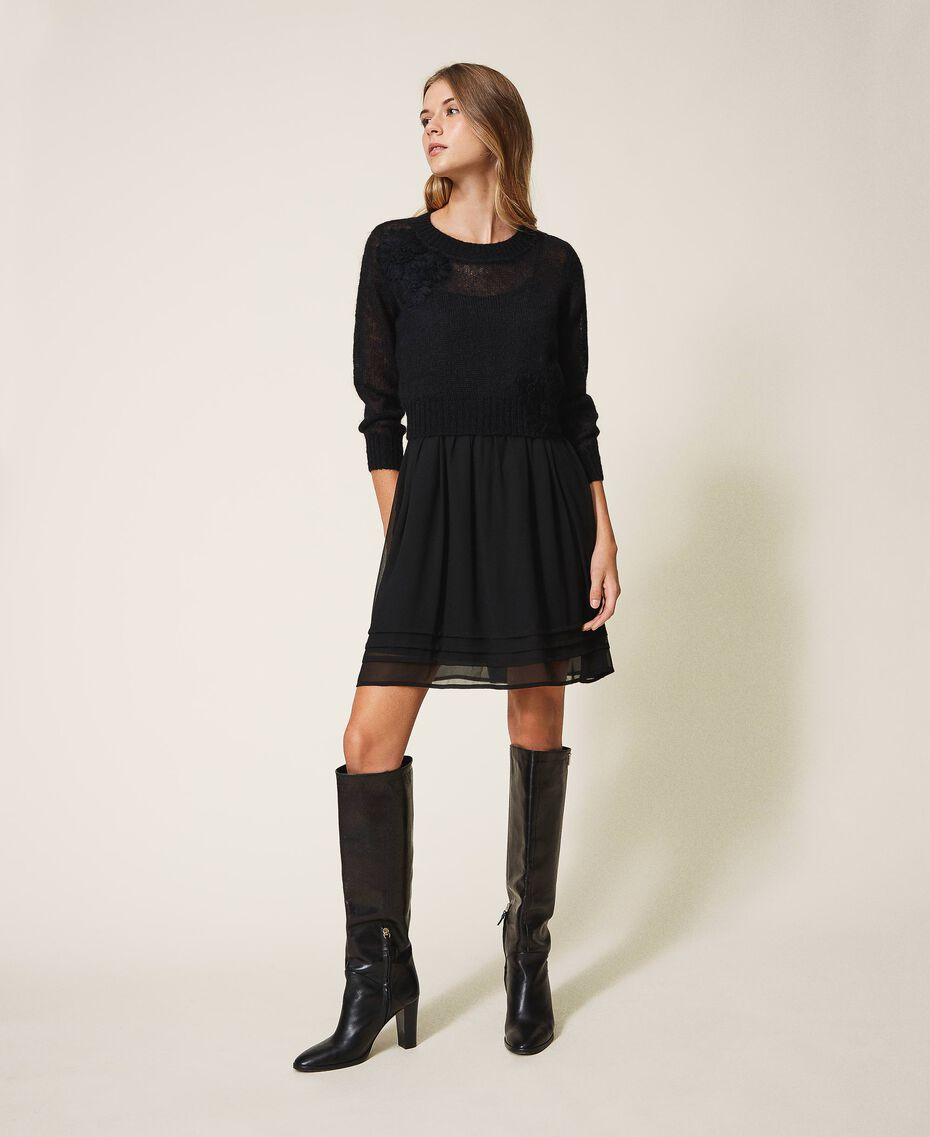Robe nuisette et pull en mohair Noir Femme 202TP3262-01