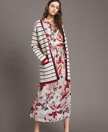 "Openwork knitted cardigan Multicolour Ecru / ""Poppy"" Red / Blue Shadow Woman 191ST3091-01"