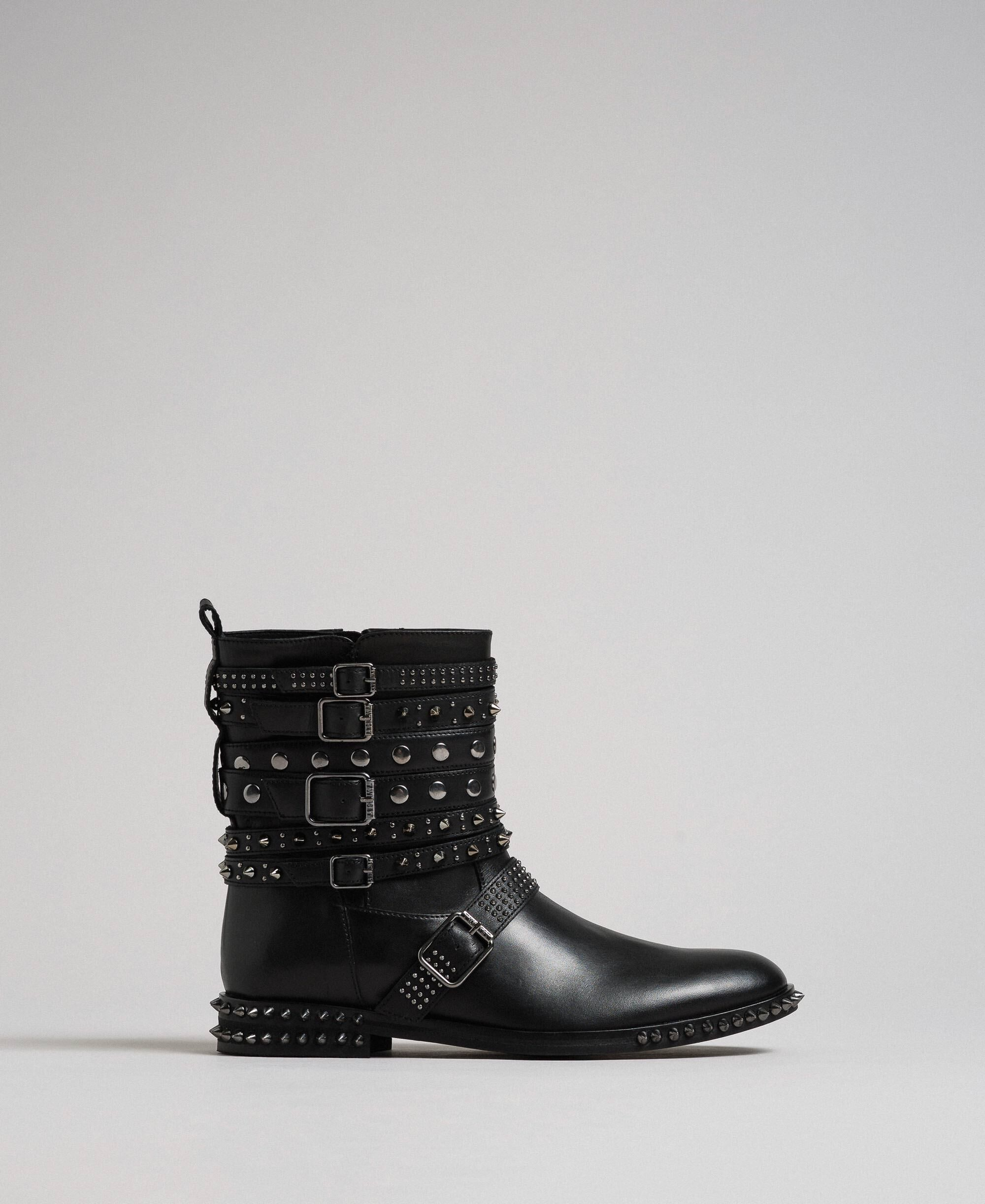 Leather biker boots with straps and