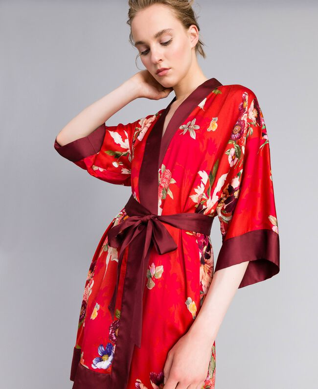 Long floral print satin kimono Red Garden Print Woman PA829N-01