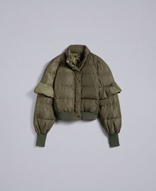 Short padded jacket with ruches Forest Green Woman TA82B5-0S