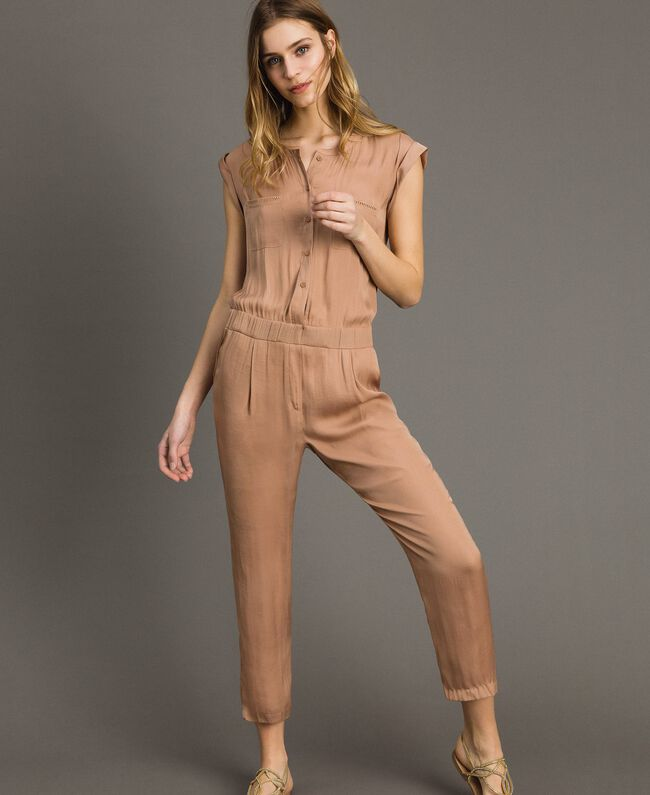 """Long jumpsuit with elasticated waistband """"Petra Sandstone"""" Brown Woman 191LM2GDD-01"""