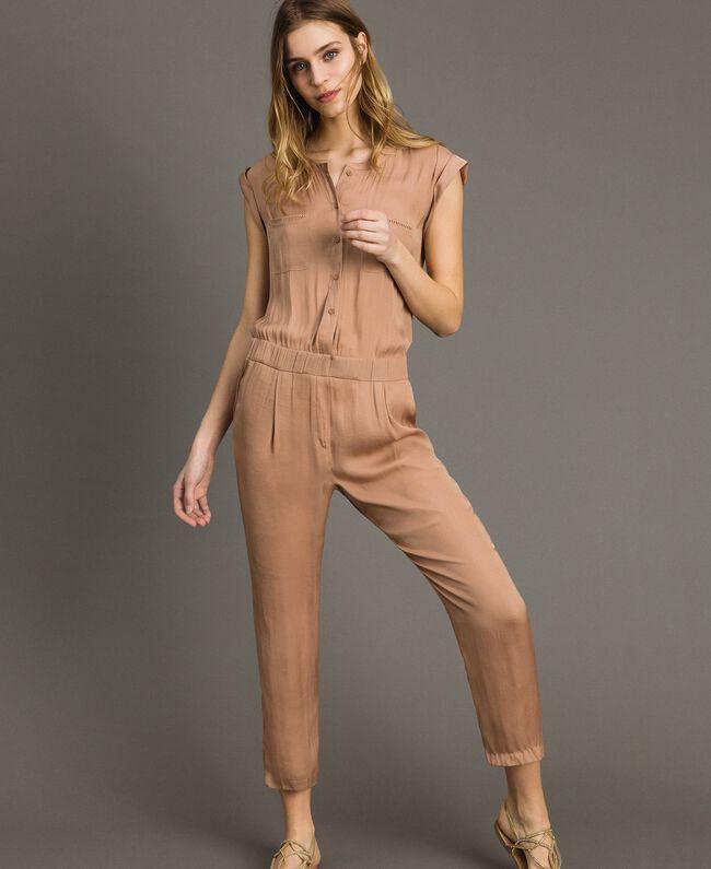 """Langer Jumpsuit mit elastischem Taillenband """"Petra Sandstone"""" Braun Frau 191LM2GDD-01"""