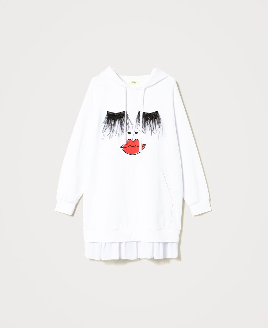 "Maxisweatshirt ""Polaris"" mit Federn und Volant Weiß Frau 211MT219B-0S"