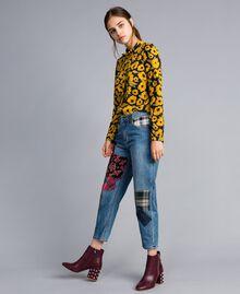 Girlfriend denim jeans with patches Denim Blue Woman YA82XA-02