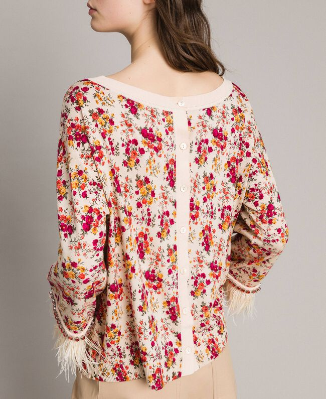 "Floral cardigan-top with feathers and rhinestones ""Blossom"" Pink Bouquet Print Woman 191TP3415-03"