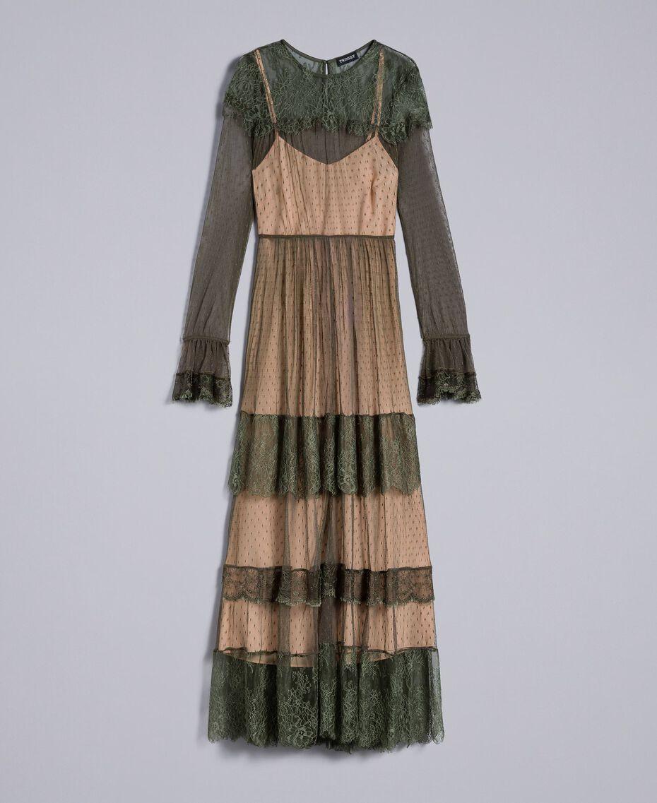 Robe longue en tulle plumetis et dentelle Vert Forêt Femme TA82XA-0S