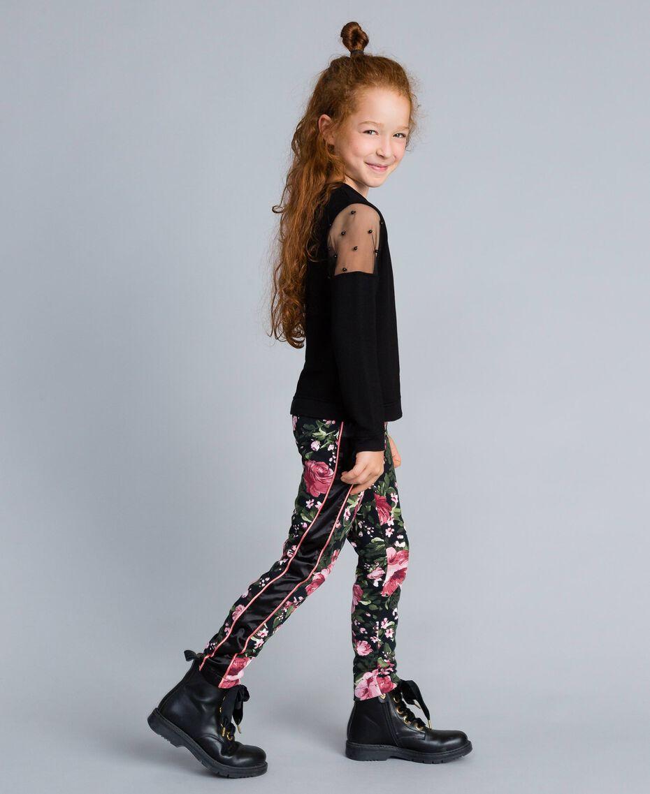 Pantalon en piqué imprimé Imprimé Roses / Noir Enfant GA82RU-02