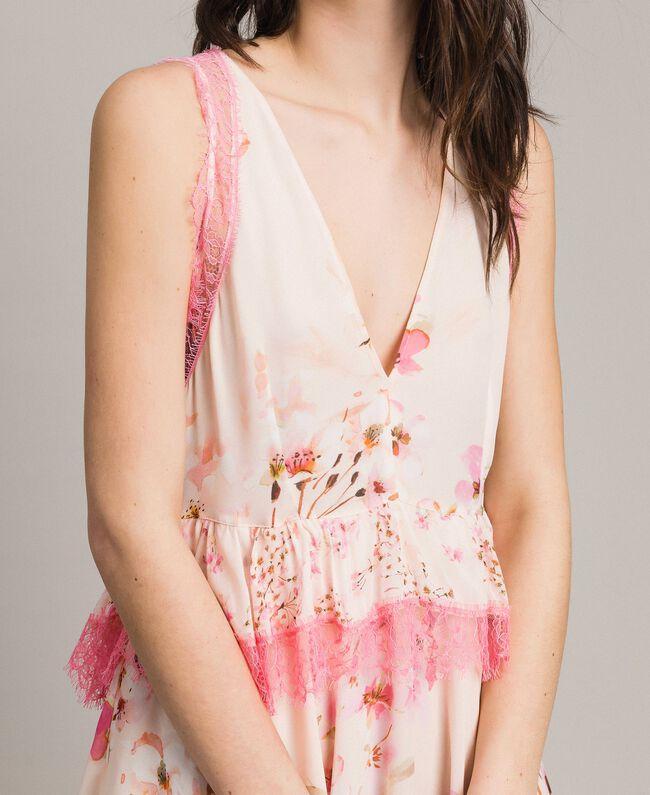 """Robe en georgette à motif floral avec dentelle Imprimé Rose """"Bouton De Rose / Peach Mix"""" Femme 191TP2712-04"""