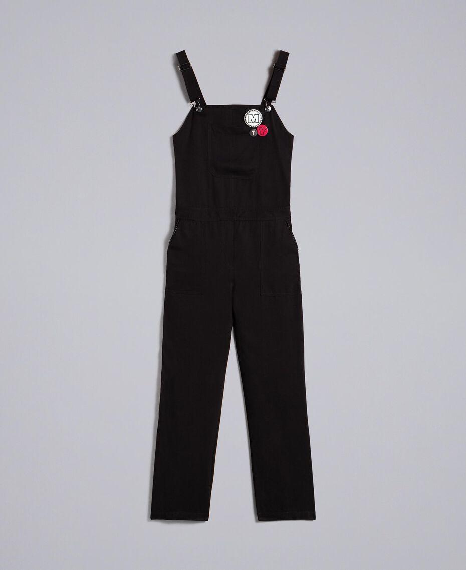 Salopette avec poche avant et broches Noir Femme JA82S1-0S