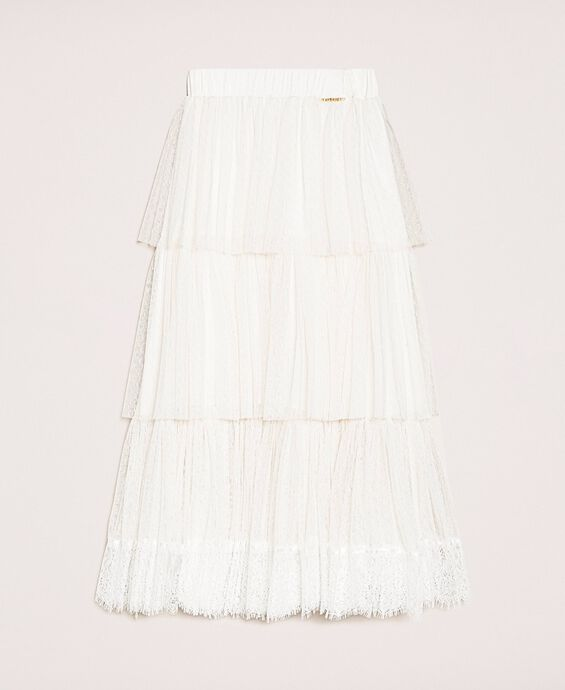Plumetis tulle and lace skirt