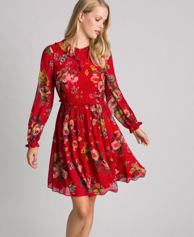 Floral print georgette dress Pomegranate Meadow Print Woman 192TP2752-01