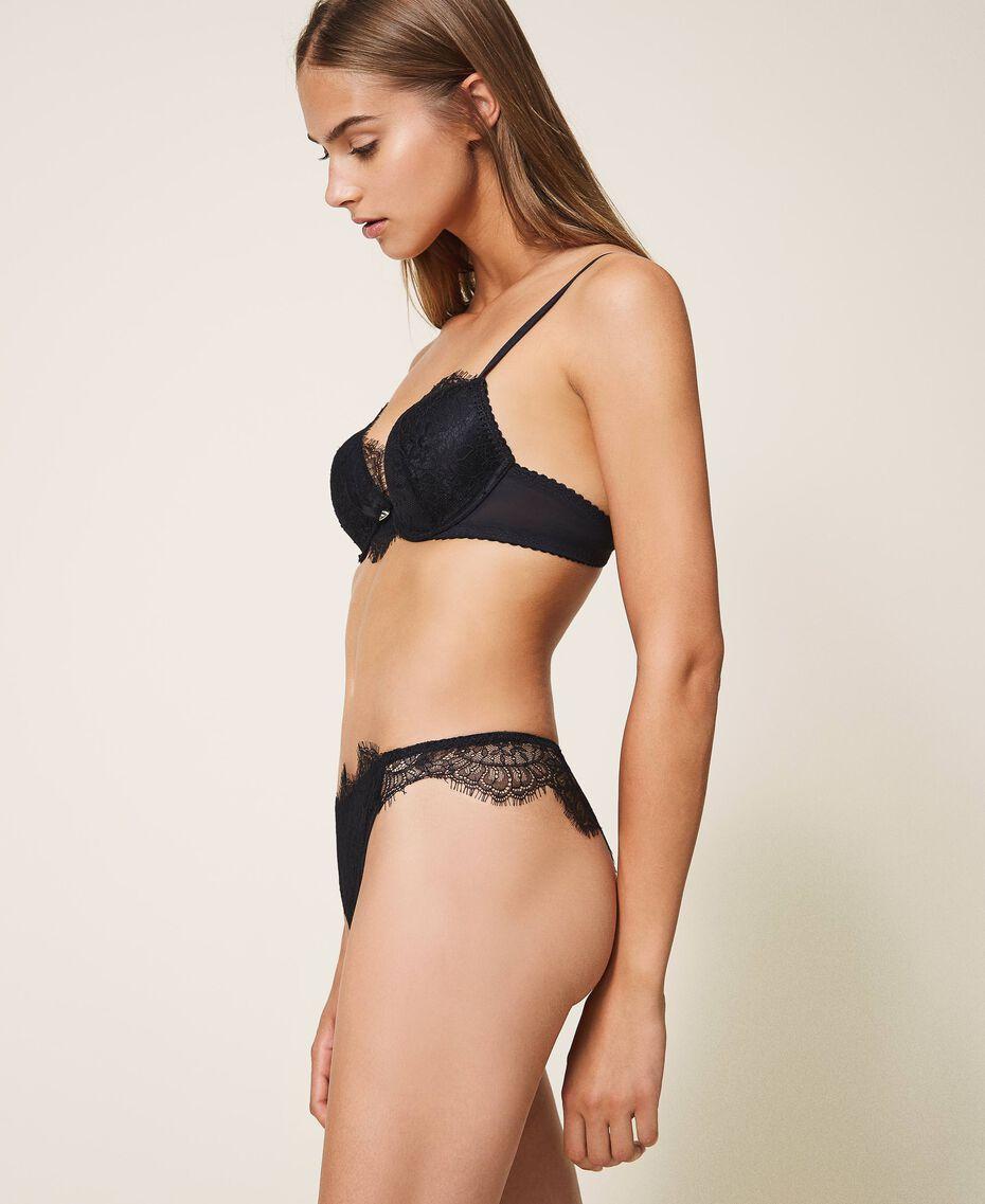 Culotte brésilienne en dentelle et tulle Noir Femme 202LI6177-02