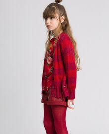 Two-tone striped mohair cardigan Ruby Wine Striped Jacquard / Red Child 192GJ3221-02