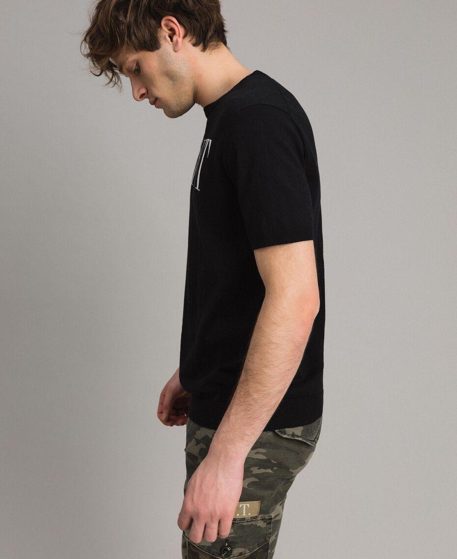 T-shirt en crêpe de coton orné du logo Bicolore Noir / Blanc Opaque Homme 191UT3041-02