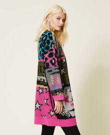 Jacquard wool blend cardigan Purple Berry Picture Jacquard Mix Woman 212AP3132-05