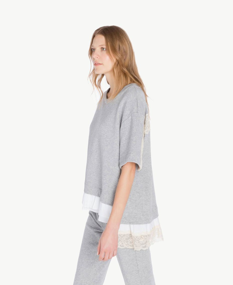 Flounced sweatshirt Light Gray Mélange Woman PS82UQ-02