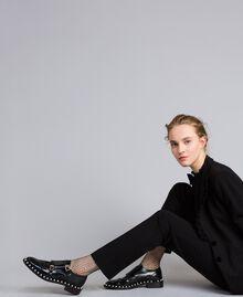 Chaussures à lacets brogues en cuir avec perles Noir Femme CA8PES-0T