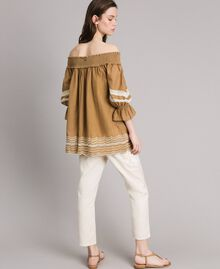 """Voile blouse with broderie anglaise embroidery Two-tone """"Atmosphere"""" Light Blue / Ecru Woman 191ST2111-03"""