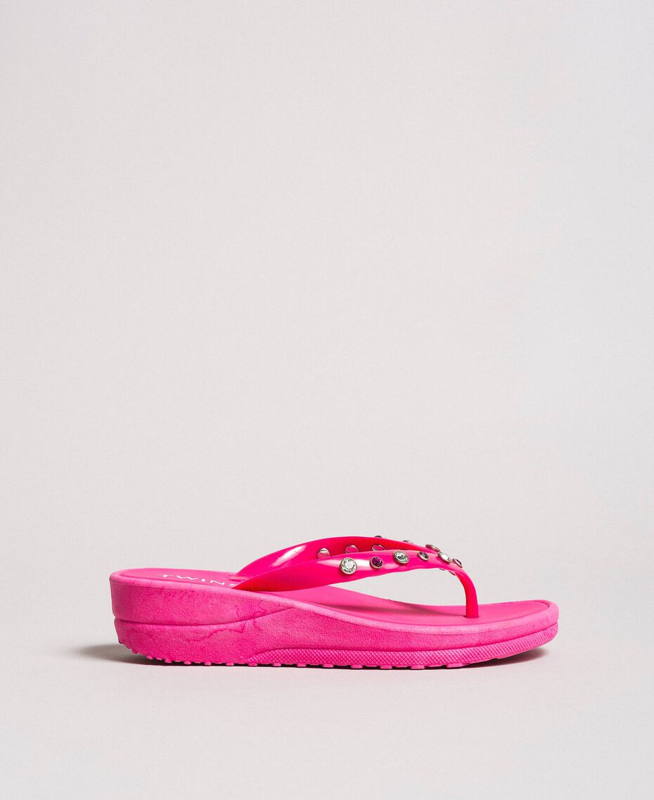 "Flip flops with wedge and rhinestones ""Psychedelic Pink"" Fuchsia Woman 191LB4ZNN-02"